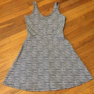 Navy and white striped a-line mini dress